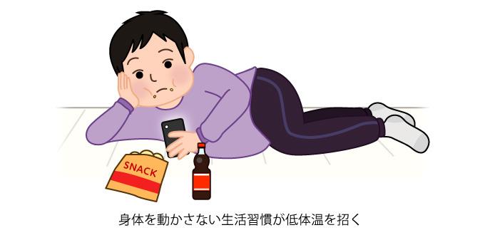 身体を動かさない生活習慣が低体温を招く